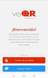 Iniciar Sesión en veQR para escanear Código QR del Carnet de Patria