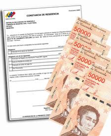 ¿Cuánto cuesta una constancia de residencia en Venezuela?