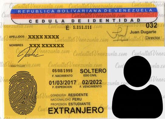 Cédula para Permanencia de extranjeros en Venezuela
