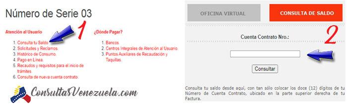 Consultar saldo por el número de contrato (NIC)