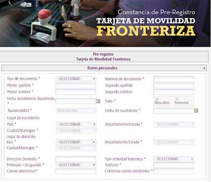 solicitar el carnet fronterizo - Pré registro
