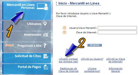 ¿Cómo Registrarse en el Banco Mercantil en línea Personas?