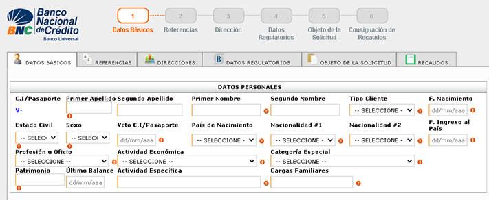 Pre-registro de Clientes para abrir una cuenta en el Banco BNC