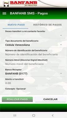 Pago móvil Banfanb SMS (Aplicación)