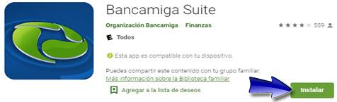 Instalar la app Bancamiga Suite