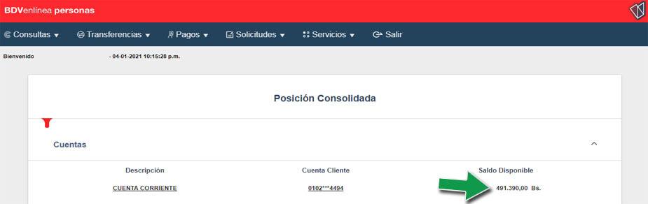 ¿Cómo consultar el Saldo disponible en el Banco de Venezuela? Estado de Cuenta