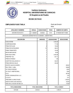 ¿Qué información contiene un recibo de pago HUC?
